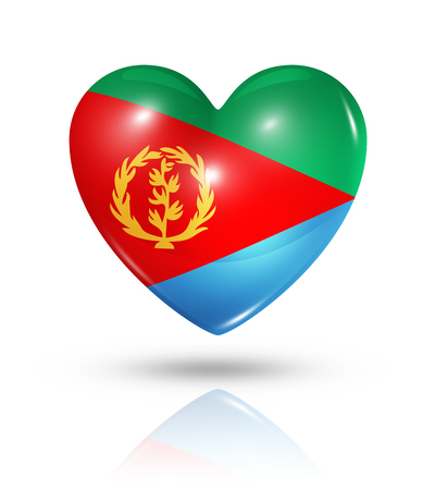 Love Eritrea symbol. 3D heart flag icon isolated on white with clipping path Stock Photo - 22813680