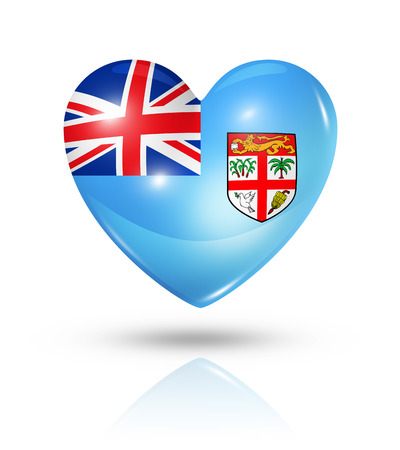 fijian: Love Fiji symbol. 3D heart flag icon isolated on white with clipping path