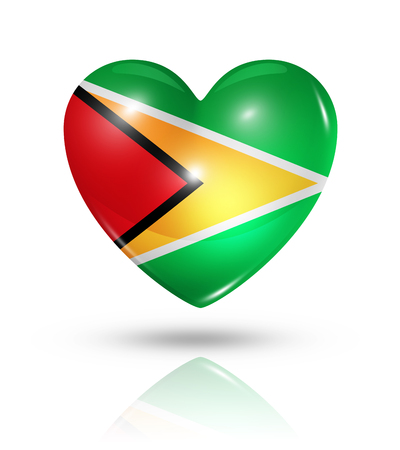 guyanese: Love Guyana symbol. 3D heart flag icon isolated on white with clipping path