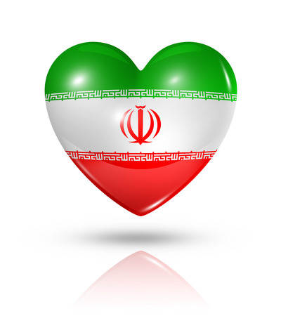 iranian: Love Iran symbol. 3D heart flag icon isolated on white with clipping path