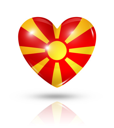 Love Macedonia symbol. 3D heart flag icon isolated on white with clipping path photo