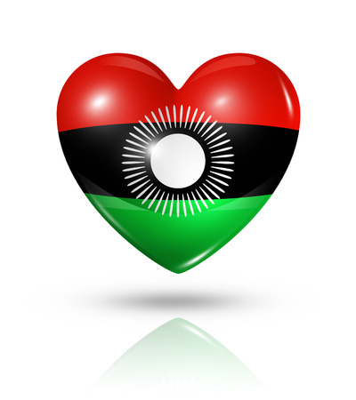 malawi flag: Love Malawi symbol. 3D heart flag icon isolated on white with clipping path