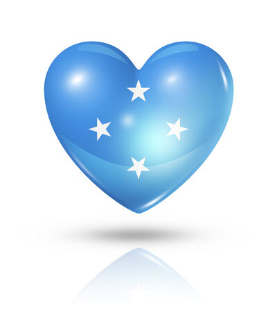 Love Micronesia symbol. 3D heart flag icon isolated on white with clipping path photo