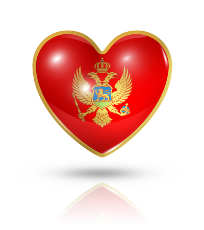montenegro: Love Montenegro symbol. 3D heart flag icon isolated on white with clipping path Stock Photo