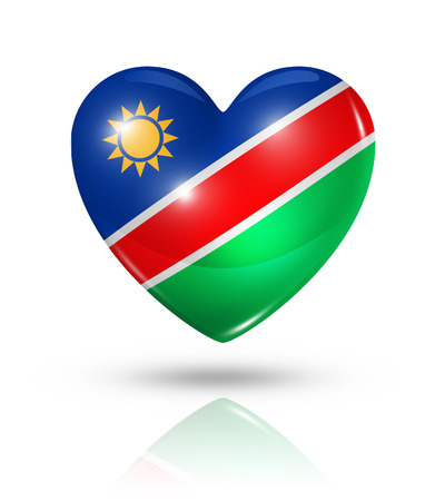 namibia: Love Namibia symbol. 3D heart flag icon isolated on white with clipping path