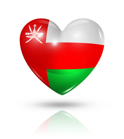 Love Oman symbol. 3D heart flag icon isolated on white with clipping path Stock Photo - 23133406