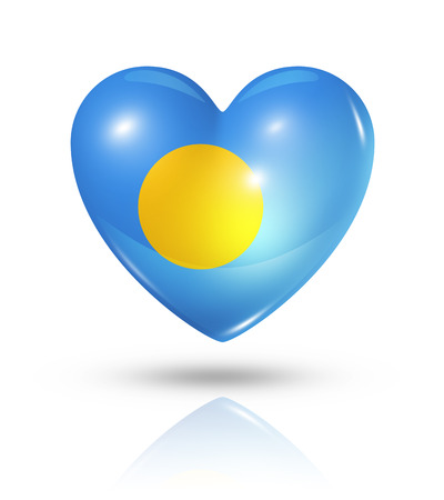 palau: Love Palau symbol. 3D heart flag icon isolated on white with clipping path