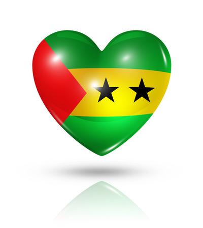 principe: Amor Sao Tome and Principe s�mbolo. Icono 3D del coraz�n del indicador aislado en blanco con trazado de recorte Foto de archivo
