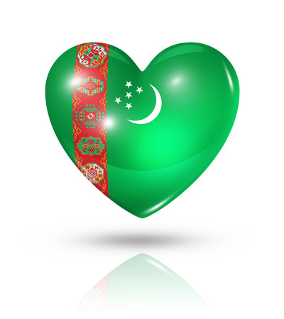 turkmenistan: Love Turkmenistan symbol. 3D heart flag icon isolated on white with clipping path
