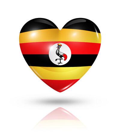 uganda: Love Uganda symbol. 3D heart flag icon isolated on white with clipping path