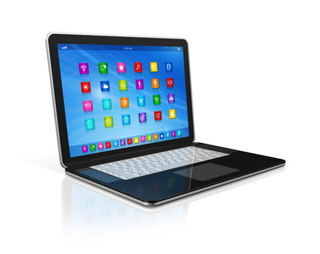 3D Laptop Computer - apps icons interface Stock Photo - 24026407