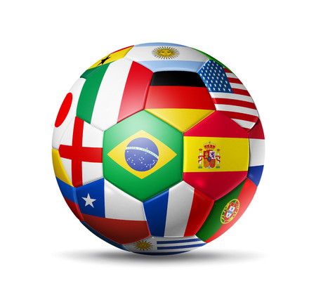world cup: 3D football soccer ball with world teams flags. Stock Photo