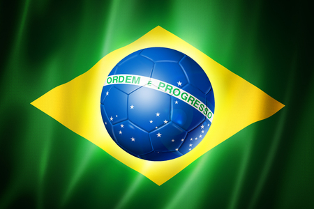 Brazil world cup 2014 symbol, soccer ball on brazilian flag photo
