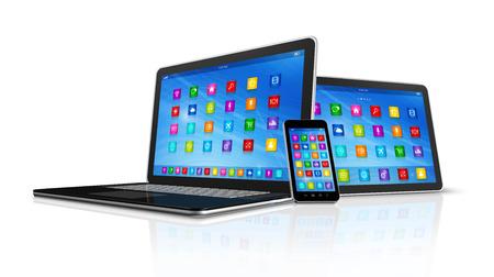 3 D スマート フォン、デジタル タブレット コンピューター、白で隔離されるラップトップ