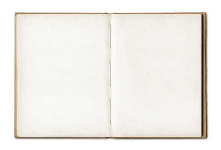 Vintage blank open notebook isolated on white  Stock fotó