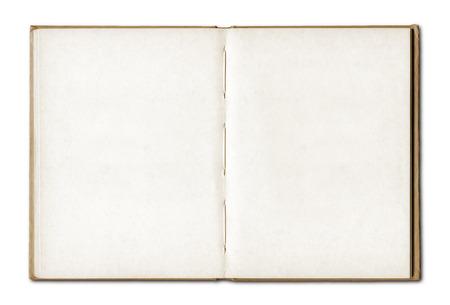 Vintage lege open notebook geïsoleerd op wit