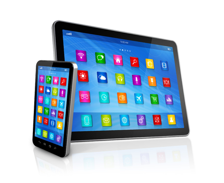 3D Smartphone and Digital Tablet Computer isolated on white photo