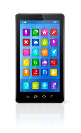 application icons: 3D smartphone, mobile phone - apps icons interface