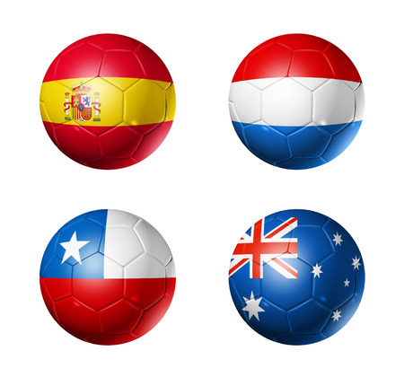 3D soccer balls with group B teams flags, Football world cup Brazil 2014  isolated on white