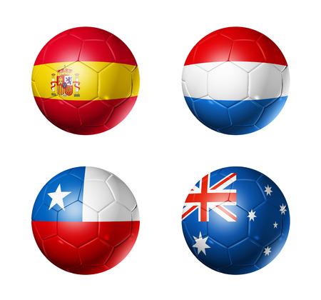 3D voetballen met groep B teams vlaggen, WK voetbal Brazilië 2014 op wit wordt geïsoleerd Stockfoto - 24439154