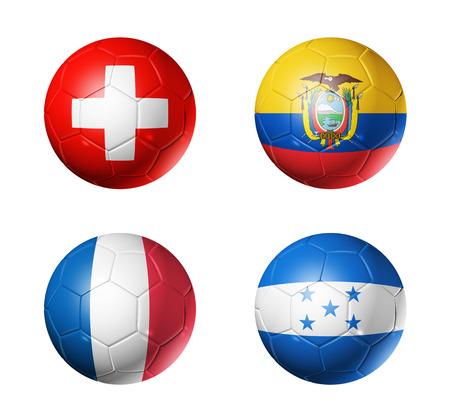 3D voetballen met groep E teams vlaggen, WK voetbal Brazilië 2014 op wit wordt geïsoleerd Stockfoto