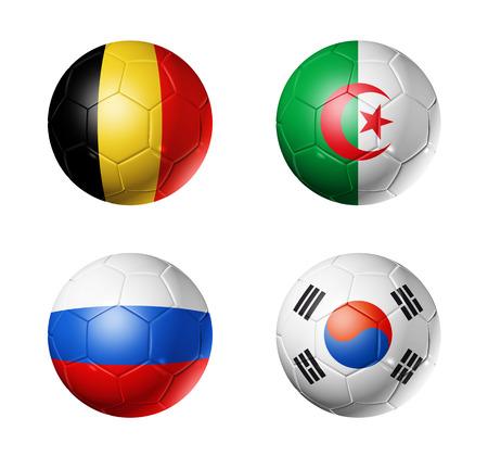 3D voetballen met groep H teams vlaggen, WK voetbal Brazilië 2014 op wit wordt geïsoleerd Stockfoto