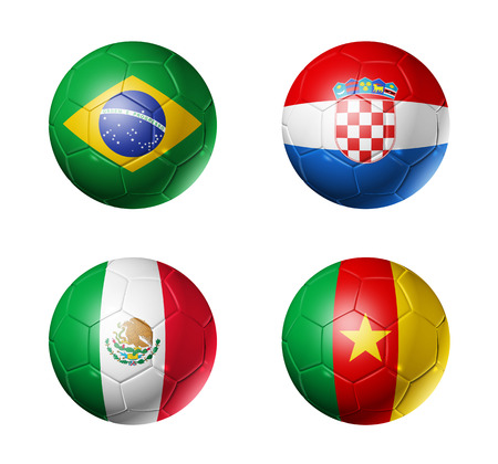 qualify: 3D soccer balls with group A teams flags, Football world cup Brazil 2014  isolated on white