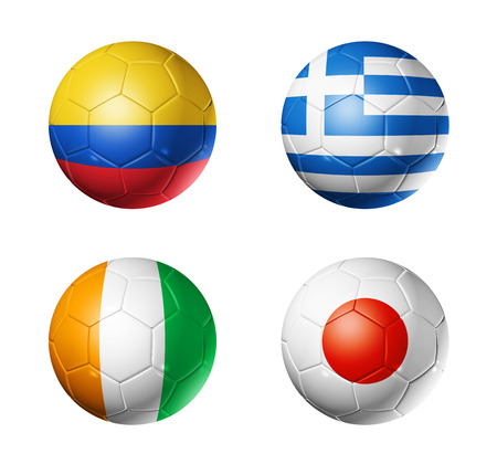 3D soccer balls with group C teams flags, Football world cup Brazil 2014  isolated on white 스톡 콘텐츠