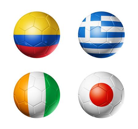 3D voetballen met groep C teams vlaggen, WK voetbal Brazilië 2014 op wit wordt geïsoleerd