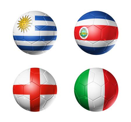 3D voetballen met groep D teams vlaggen, WK voetbal Brazilië 2014 op wit wordt geïsoleerd