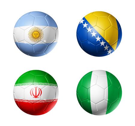Ballons de soccer 3D avec groupe F équipes drapeaux, monde de football Brésil 2014 tasse isolé sur blanc Banque d'images - 24439216