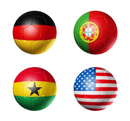 3D voetballen met groep G teams vlaggen, WK voetbal Brazilië 2014 op wit wordt geïsoleerd Stockfoto