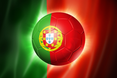 3D soccer ball with Portugal team flag, world football cup Brazil 2014