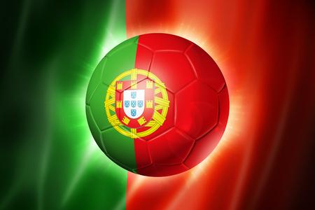 3D voet bal met Portugal team vlag, WK voet Brazilië 2014 Stockfoto - 24440462