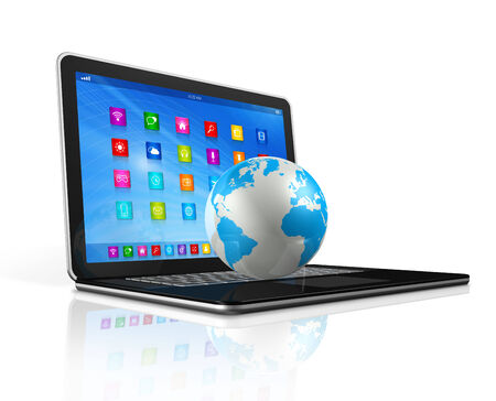 3D Laptop Computer and World Globe - apps icons interface - isolated on white with clipping path photo