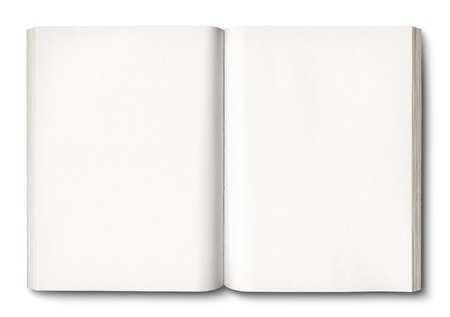 White open book isolated on white with clipping path Archivio Fotografico