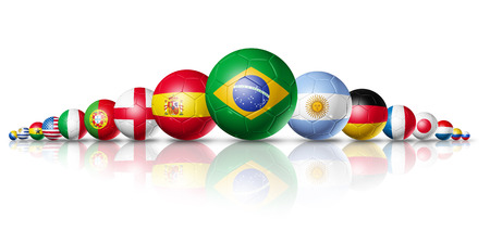 Soccer football balls group with teams flags   brazil soccer world cup 2014 symbol  isolated on white Archivio Fotografico