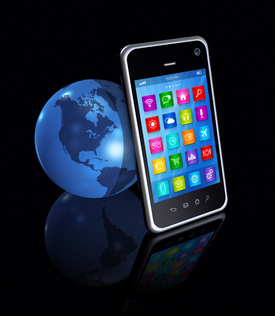 3D Smartphone with apps icons And World Globe isolated on black photo