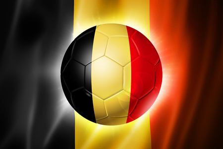 soccerball: 3D soccer ball with Belgium team flag, world football cup Brazil 2014 Stock Photo