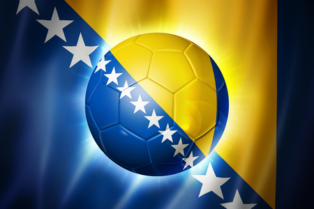 3D soccer ball with Bosnia and Herzegovina team flag, world football cup Brazil 2014 photo