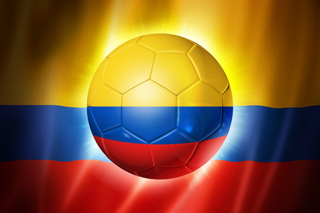 3D soccer ball with Colombia team flag, world football cup Brazil 2014