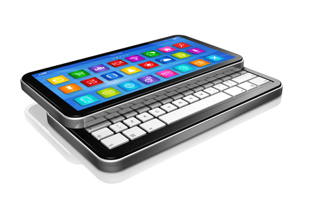 netbook: 3D smartphone, Netbook - apps icons interface - isolated on white with clipping path