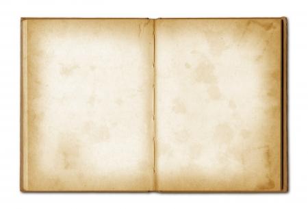 古いグランジ ノートブックを開くクリッピングパスを白で隔離されます。 写真素材