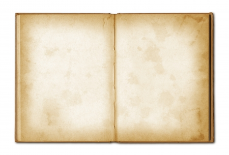 old grunge open notebook isolated on white with clipping path Foto de archivo