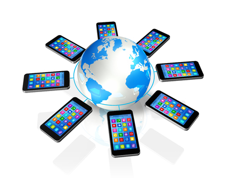 3D Smartphones Around World Globe, isolated on white - Global Communication Concept photo