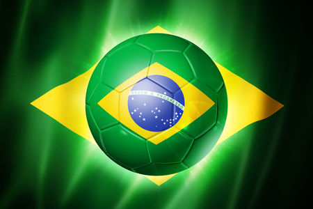 3D soccer ball with Brazilian team flag, world football cup Brazil 2014 Archivio Fotografico