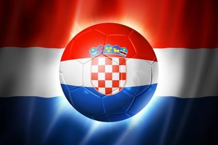 3D voetbal met Kroatië team vlag, WK voet Brazilië 2014