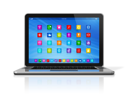 3D Laptop Computer - apps icons interface - isolated on white  photo