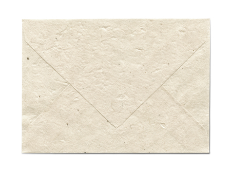 Natural recycled nepalese paper envelope isolated on white photo