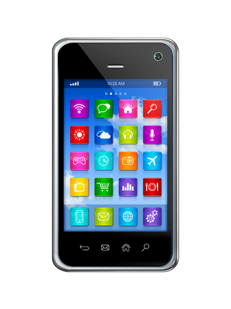 smartphone apps: 3D smartphone, mobile phone - apps icons interface